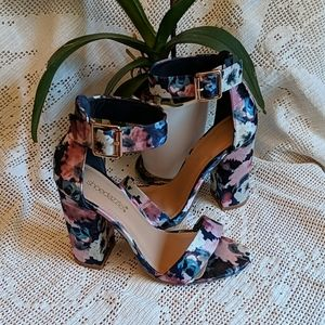 Shoe Dazzle satin flowered heels with ankle strap